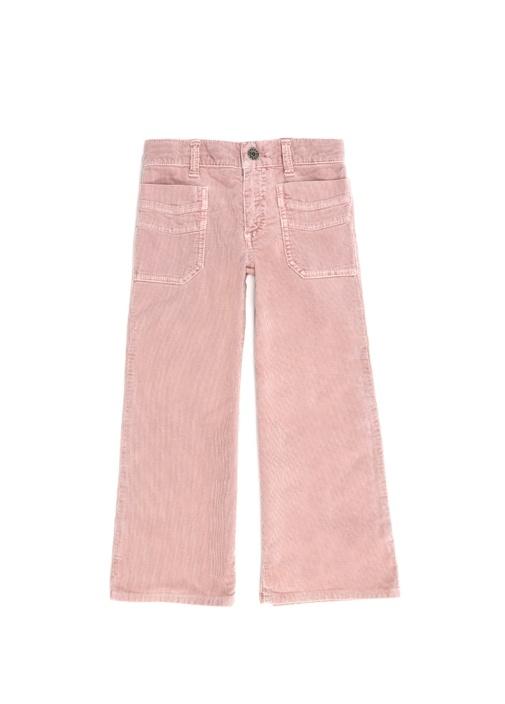 Pembe Patch Detaylı Kız Çocuk Kadife Pantolon