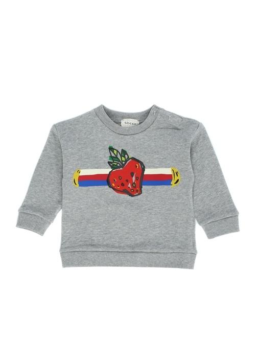 Gri Melanj Çilek Baskılı Kız Bebek Sweatshirt