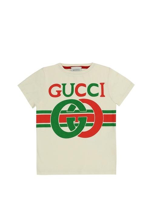 Beyaz Logo Baskılı Erkek Çocuk Basic T-shirt