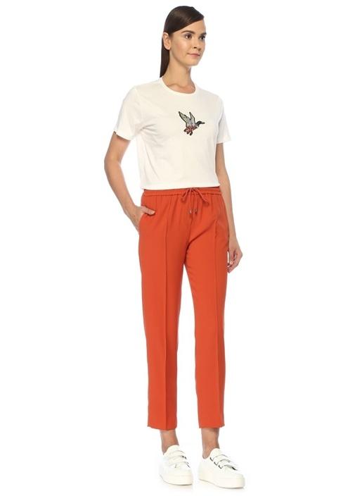 Turuncu Nervürlü Pijama Formlu Krep Pantolon
