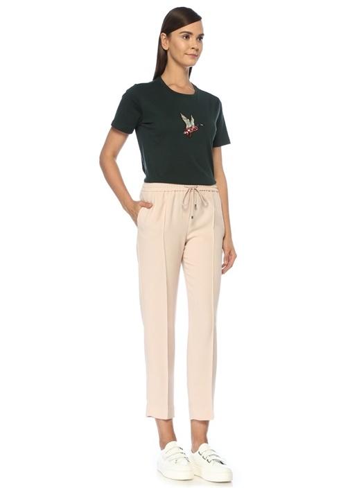 Pudra Nervürlü Pijama Formlu Krep Pantolon