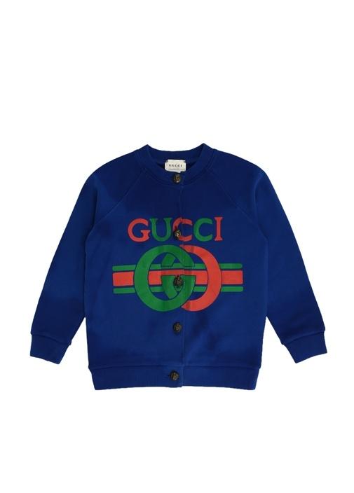 Lacivert Logo Baskılı Kız Bebek Sweatshirt