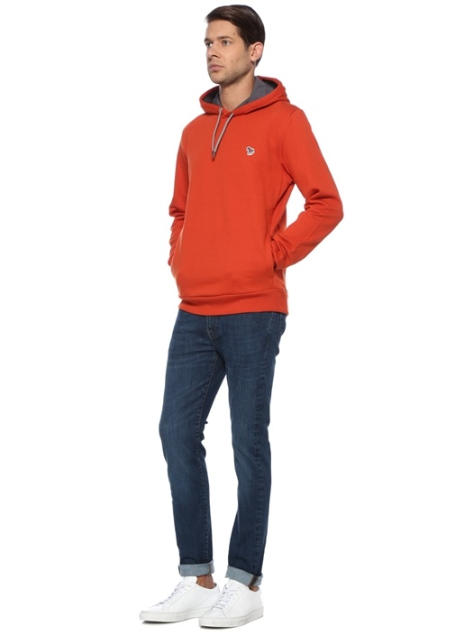 Regular Fit Turuncu Kapüşonlu Sweatshirt