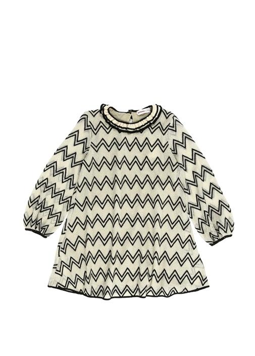 Bej Siyah Fırfırlı Zikzak Desenli Kız Çocuk Elbise