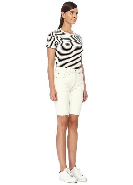 80s Beyaz Dikiş Detaylı Uzun Jean Şort