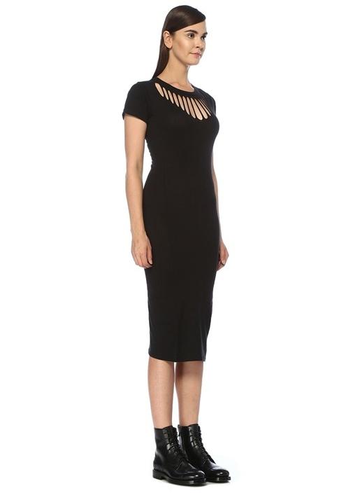Dina Siyah Yakası Kesim Detaylı Midi Elbise