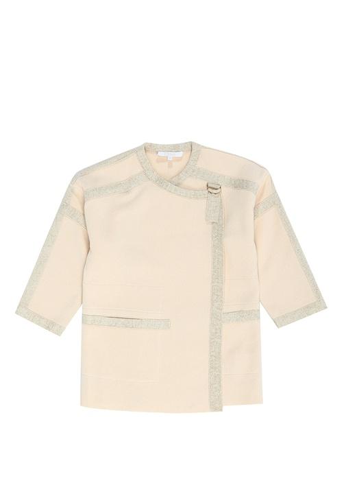 Pembe Yakası Kemerli Kız Çocuk Triko Ceket