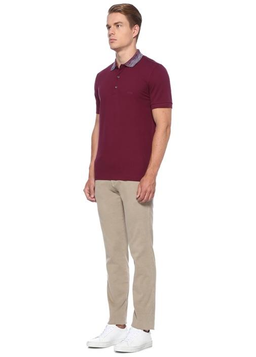 Bordo Yakası Çizgili Pike Dokulu Polo Yaka T-shirt