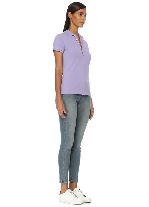 Slim Fit Lila Polo Yaka T-shirt