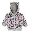 Gri Leopar Baskılı Kapüşonlu Kız Bebek Sweatshirt