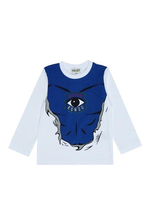 Gudule Mavi Beyaz Baskılı Erkek Çocuk T-shirt