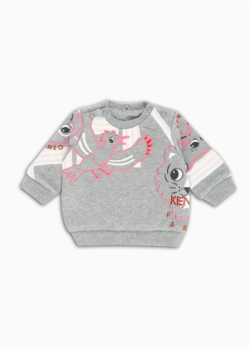 Gri Melanj Kız Bebek Organik Pamuklu Sweatshirt