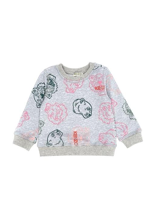 Gri Karışık Baskılı Kız Çocuk Sweatshirt