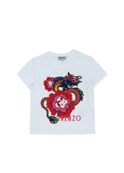 Beyaz Çiçekli Ejderhalı Kız Çocuk T-shirt