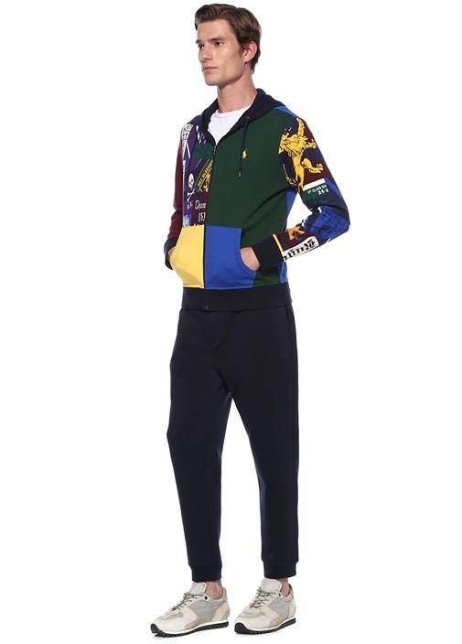 Yeşil Kapüşonlu Desenli Performance Sweatshirt