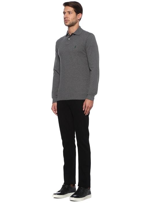 Custom Slim Fit Gri Polo Yaka Sweatshirt