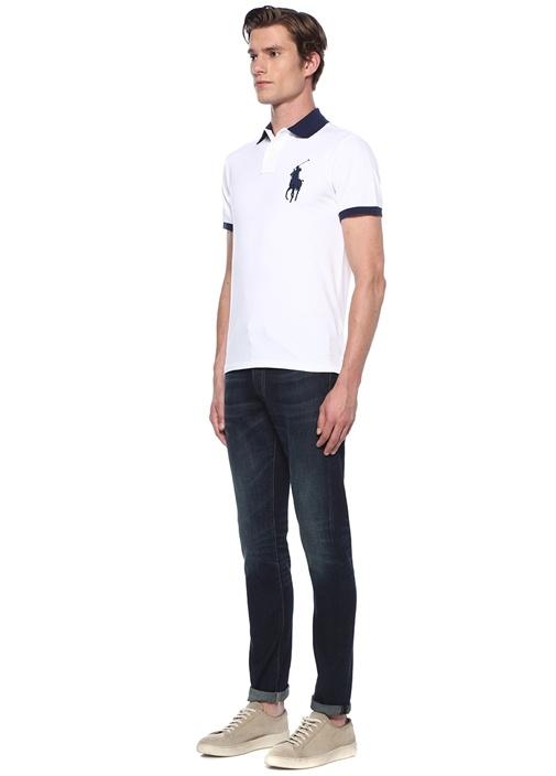 Custom Slim Fit Beyaz Lacivert Logolu T-shirt