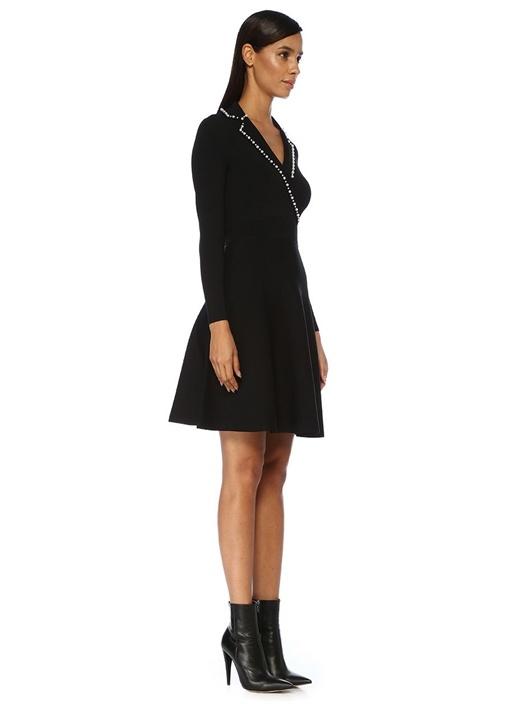 Siyah İnci Detaylı Kelebek Yaka Midi Triko Elbise