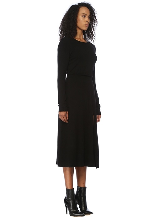 Rolland Siyah Çift Taraflı Midi Triko Elbise
