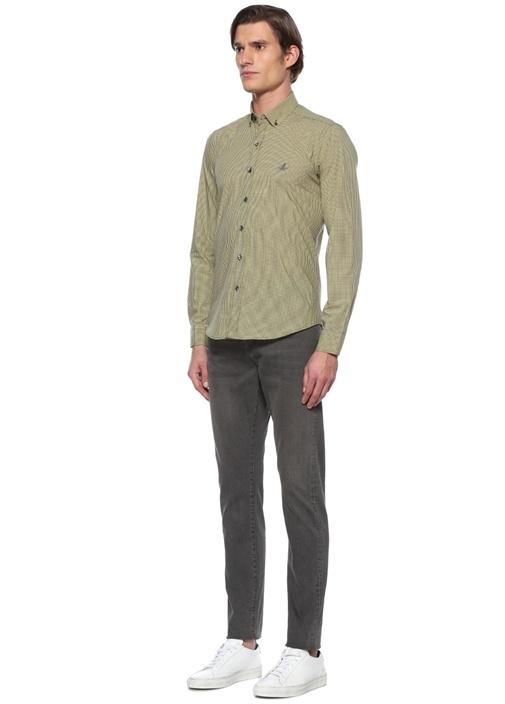 Comfort Fit Sarı Pötikare Desenli Gömlek