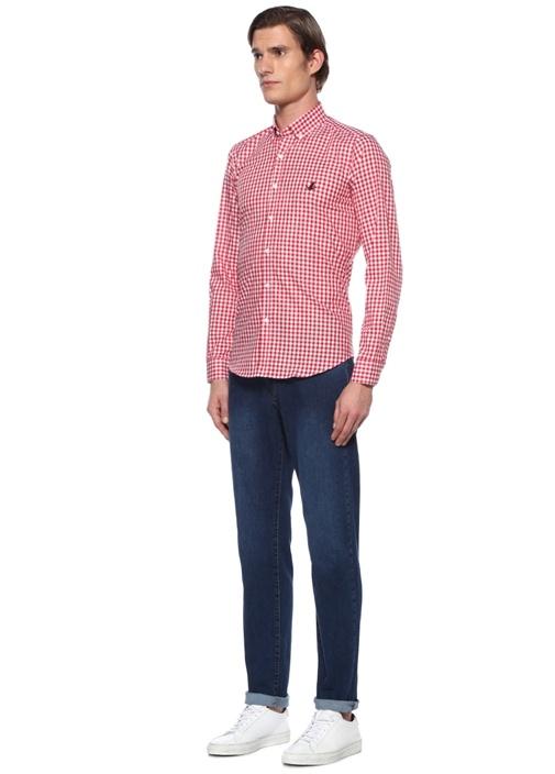 Comfort Fit Kırmızı Düğmeli Yaka Pötikareli Gömlek