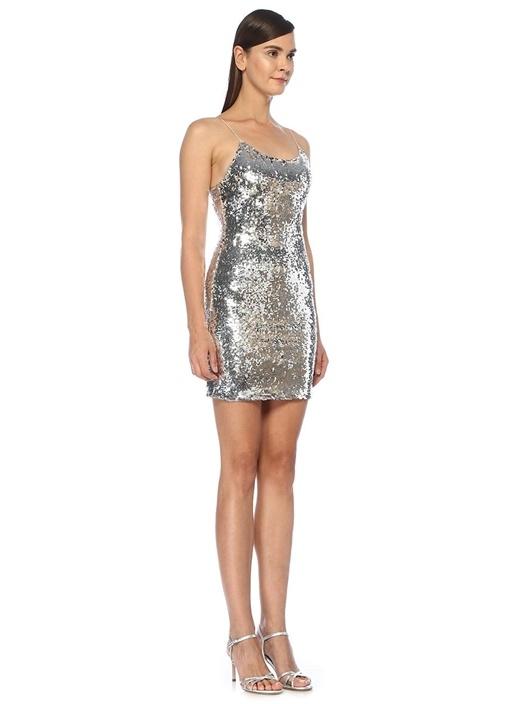 Giselle Silver İşlemeli İnce Askılı Mini Elbise