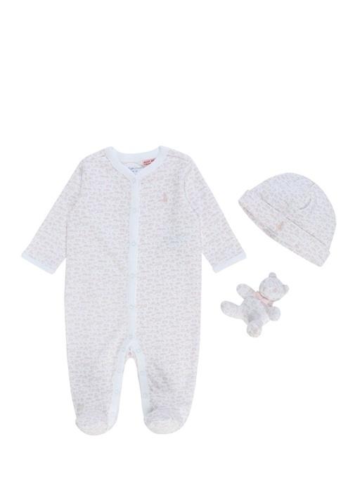Beyaz Pembe 3lü Desenli Kız Bebek Hediye Seti