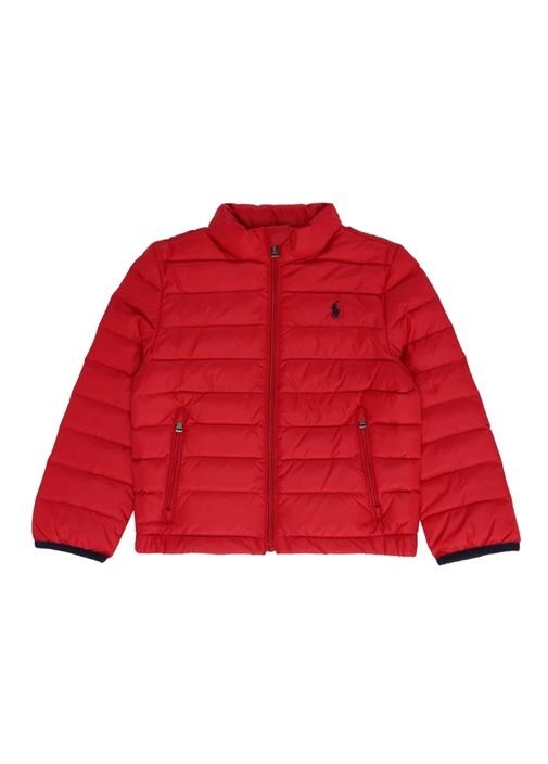 Kırmızı Dik Yaka Erkek Çocuk Puff Ceket