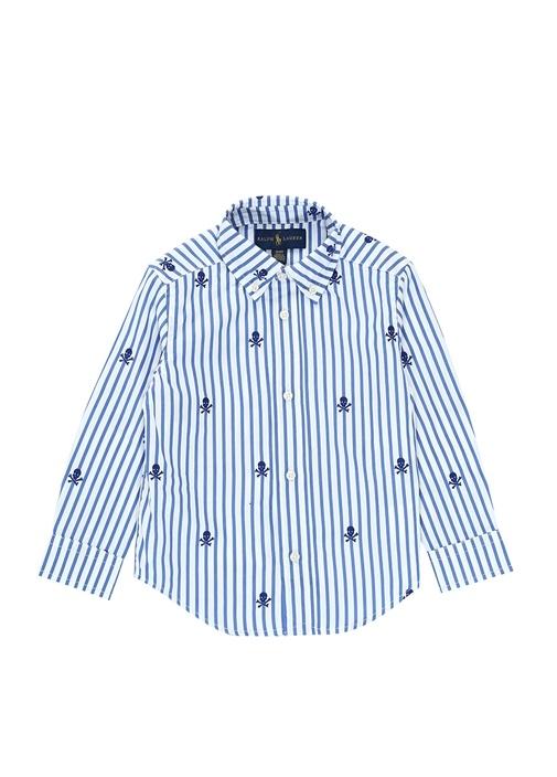 Mavi Beyaz Kuru Kafalı Erkek Çocuk Gömlek