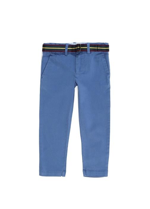 Mavi Kemer Detaylı Erkek Çocuk Kanvas Pantolon