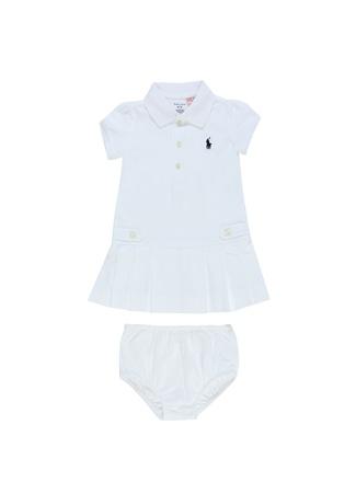 Kız Bebek Beyaz Külotlu Pike Dokulu Elbise Seti 9 Ay EU