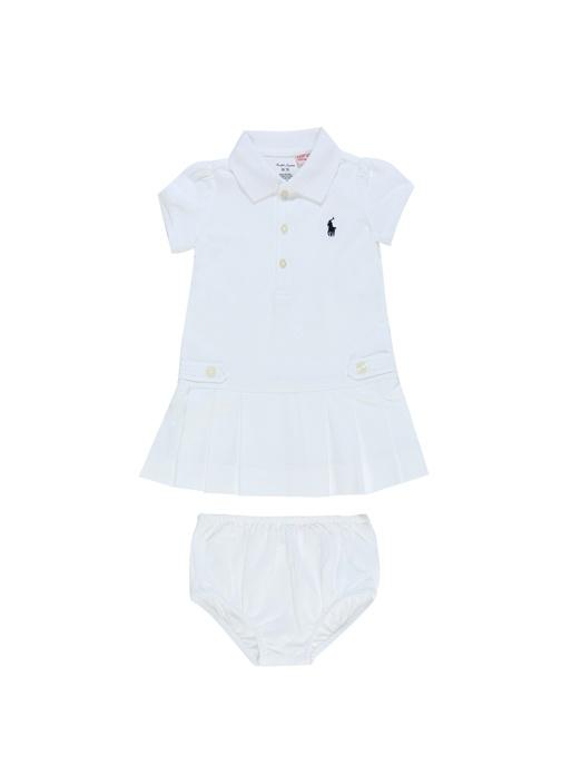 Beyaz Külotlu Pike Dokulu Kız Bebek Elbise Seti