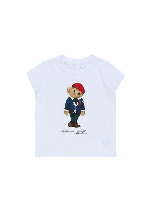 Beyaz Ayıcık Baskılı Kız Bebek T-shirt