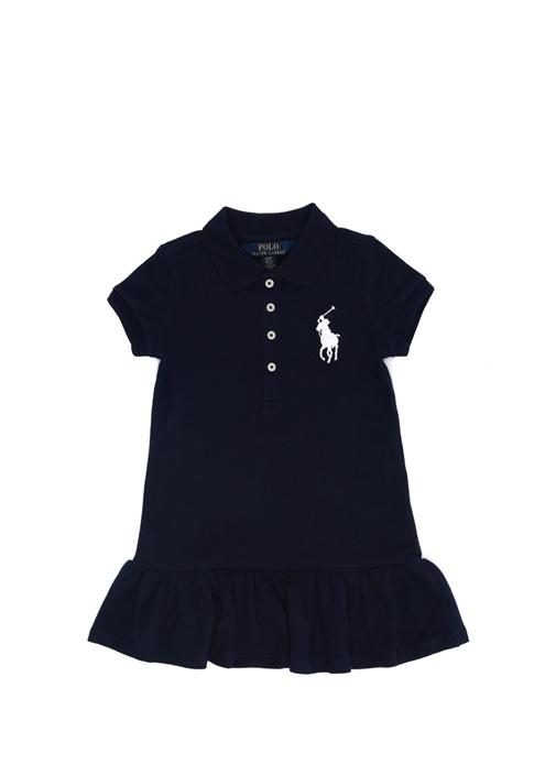 Lacivert Logo Nakışlı Polo Yaka Kız Çocuk Elbise