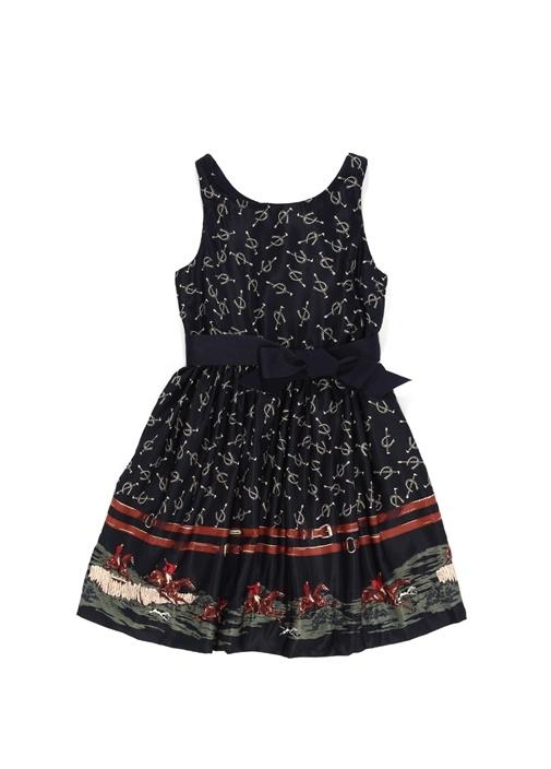 Lacivert Kayık Yaka Desenli Kız Çocuk Elbise