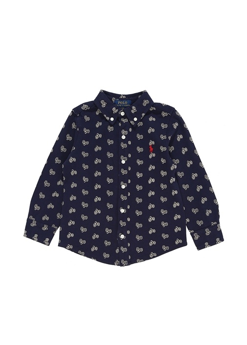 Lacivert Düğmeli Yaka Erkek Çocuk Gömlek