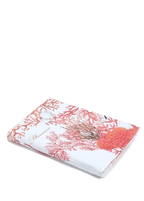 Coralli Beyaz Kırmızı Desenli Dokulu Plaj Havlusu