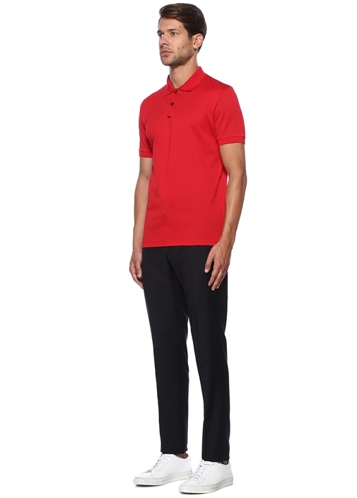 Kırmızı Logo Nakışlı Polo Yaka T-shirt