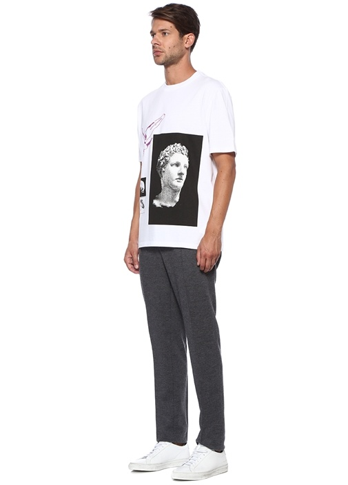 Beyaz Karışık Baskılı T-shirt