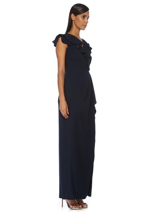Lacivert Volanlı Maksi Anvelop Abiye Elbise