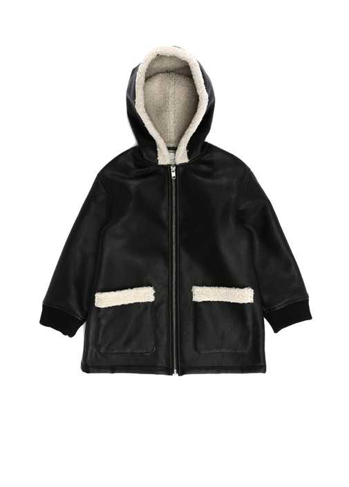 Siyah Kapüşonlu Shearling Detaylı Kız Çocuk Ceket