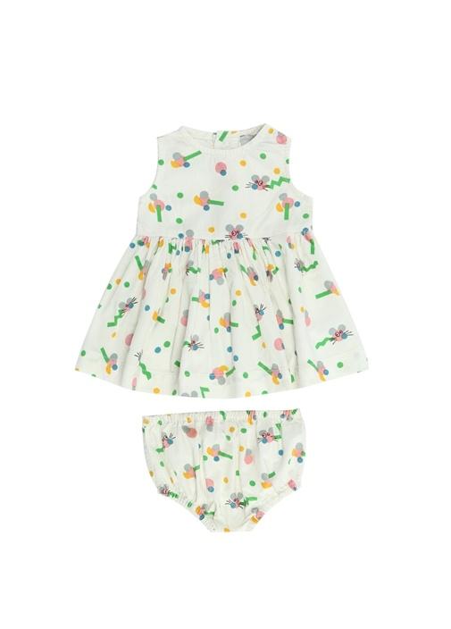 Beyaz Baskılı Kız Bebek Elbise