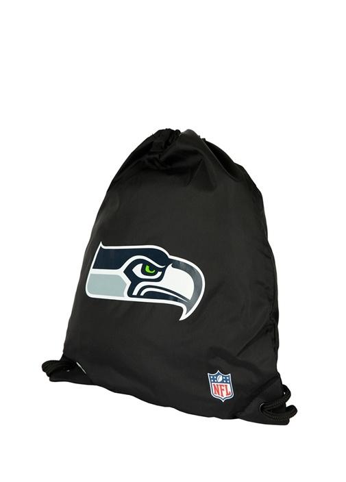 NFL Seattle Seahawks Siyah Erkek Büzgülü Çanta