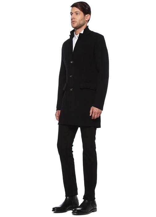 Siyah Kelebek Yaka Yırtmaçlı Yün Palto
