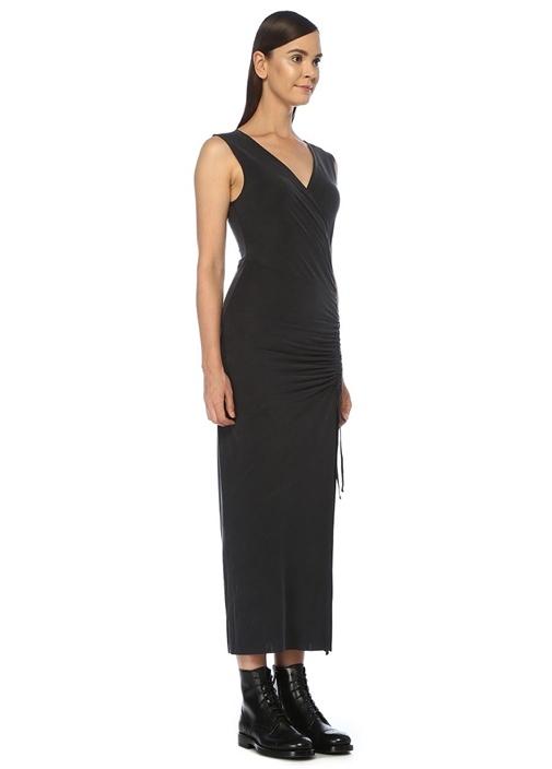 Antrasit V Yaka Büzgü Detaylı Midi Elbise