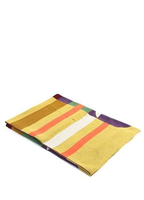 Colorblocked Çizgili Yün Throw