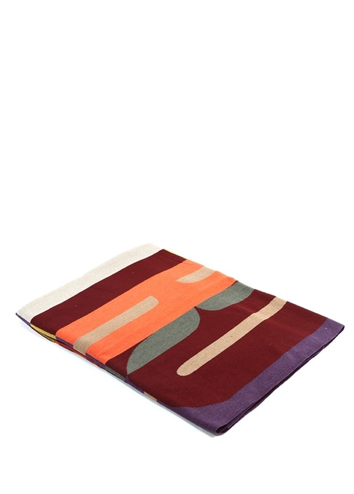Colorblocked Çizgili Yün Battaniye