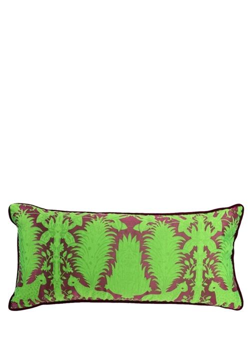 Yeşil Kadife Biyeli 35x70 cm Dekoratif Yastık