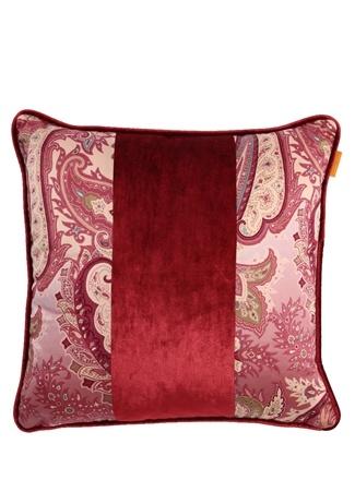 Etro Home Pembe Şal Desenli 45x45 cm Dekoratif Yastık Kırmızı Standart