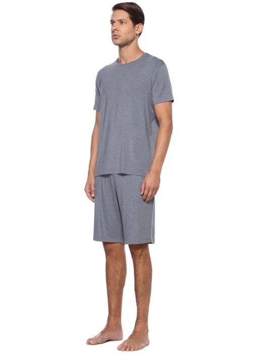 Gri Beli Kordonlu Jersey Pijama Altı